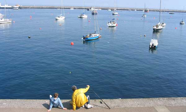 Fishing with child Brixham Breakwater.