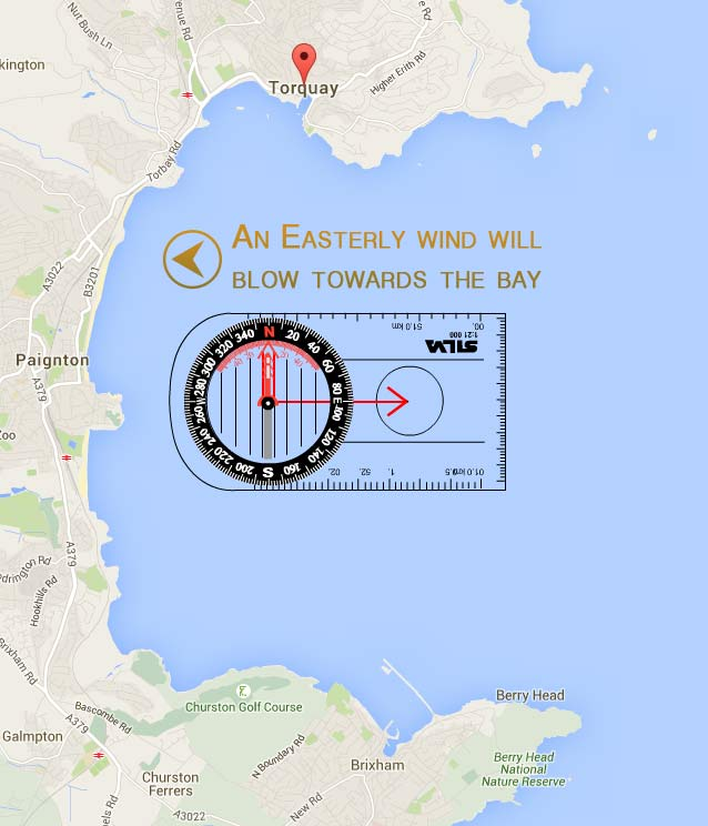 Easterly wind direciton Torbay.